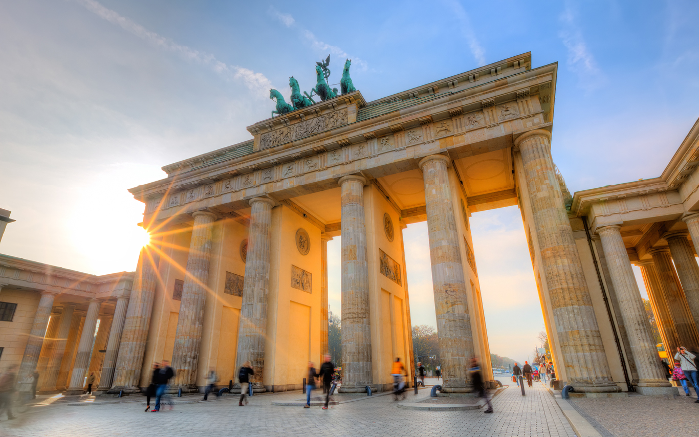 A panoramic view of Brandenburg Gate in Berlin