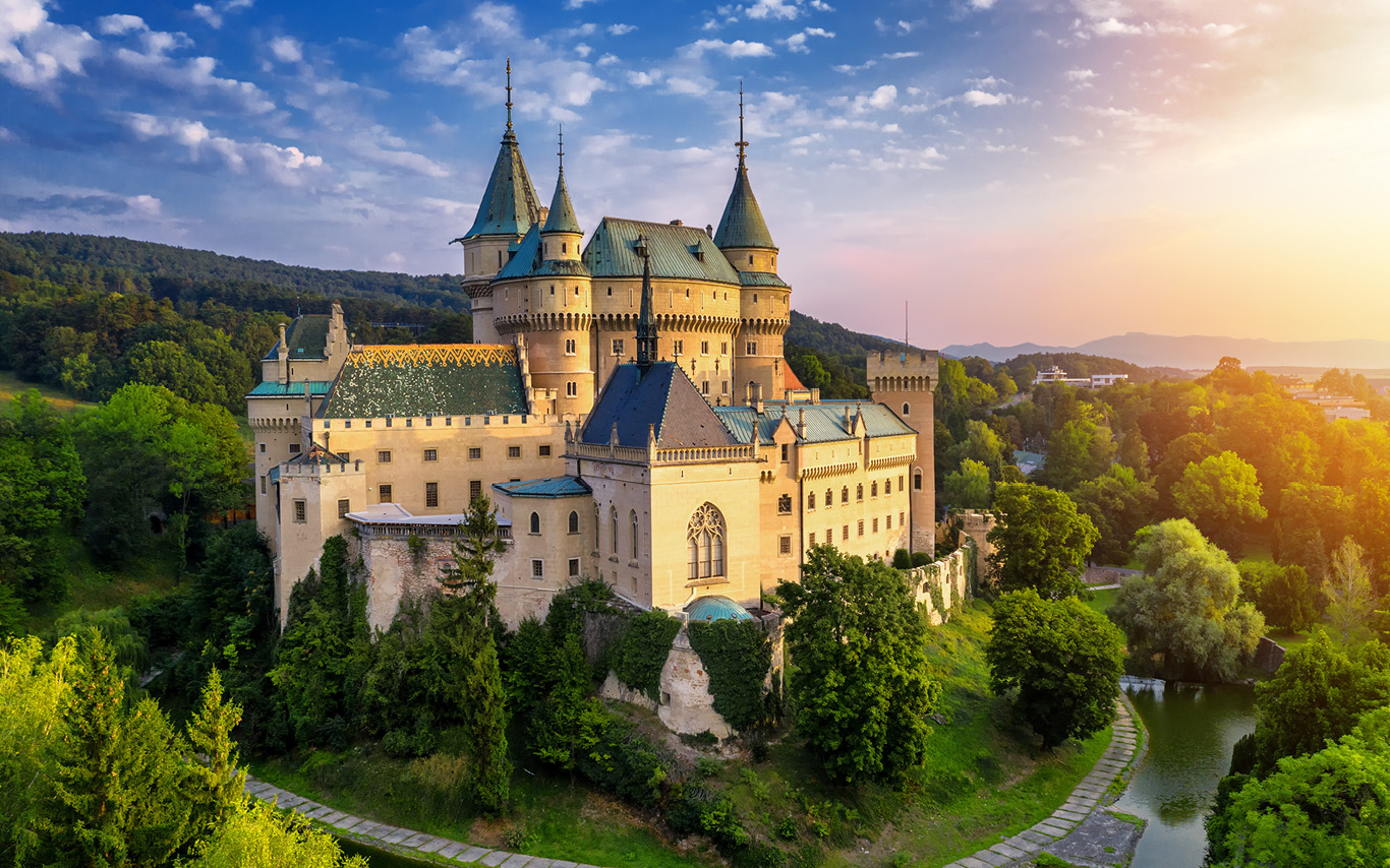 Panoramic view of Bojnice Castle in Slovakia