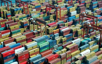 A large selection of multi-coloured shipping containers