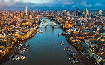 Arial landscape view of Tower Bridge, London