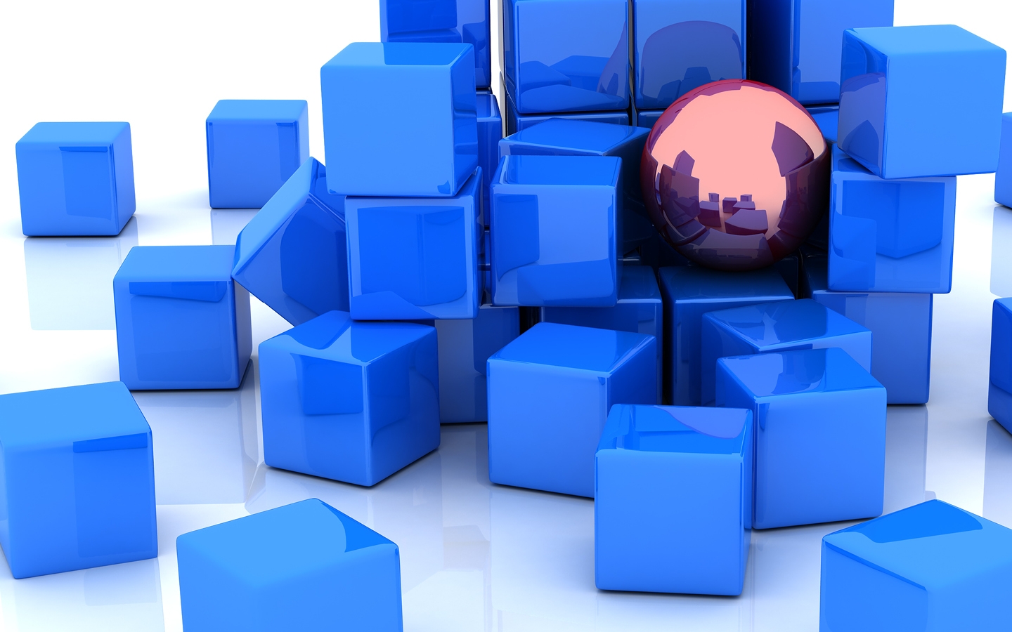 Abstract image showing blue cubes, stacked on top of each other
