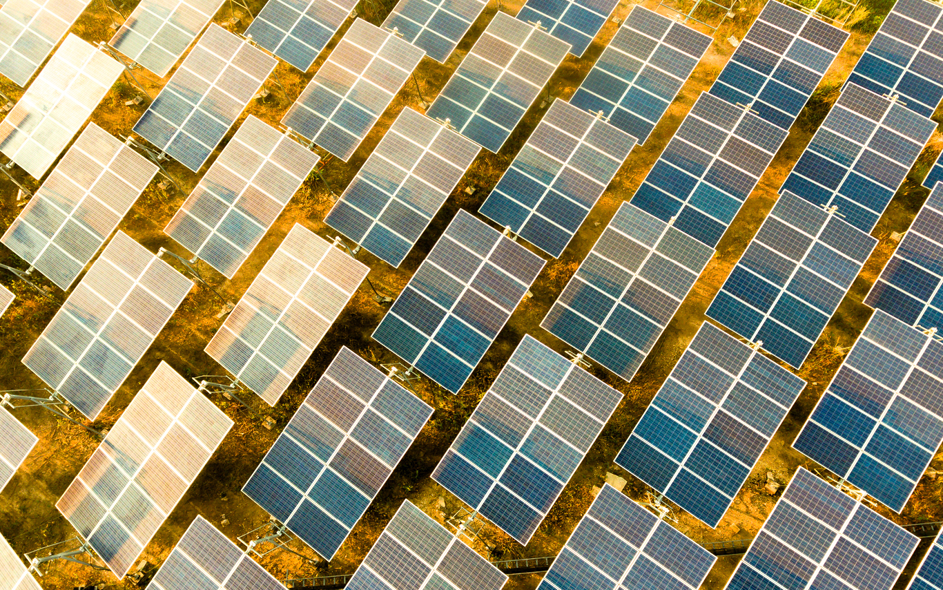 A bird's eye view of solar panels