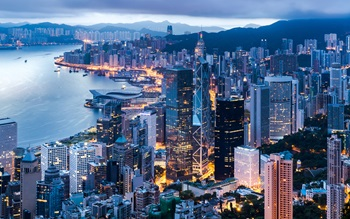 Bird's eye view of Hong Kong's skyline with high-rise modern buildings