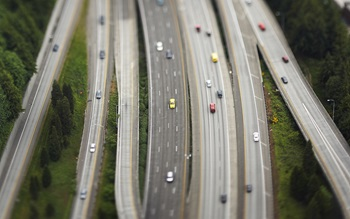 aerial shot of motorway