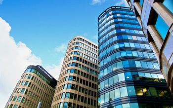 Glass office buildings