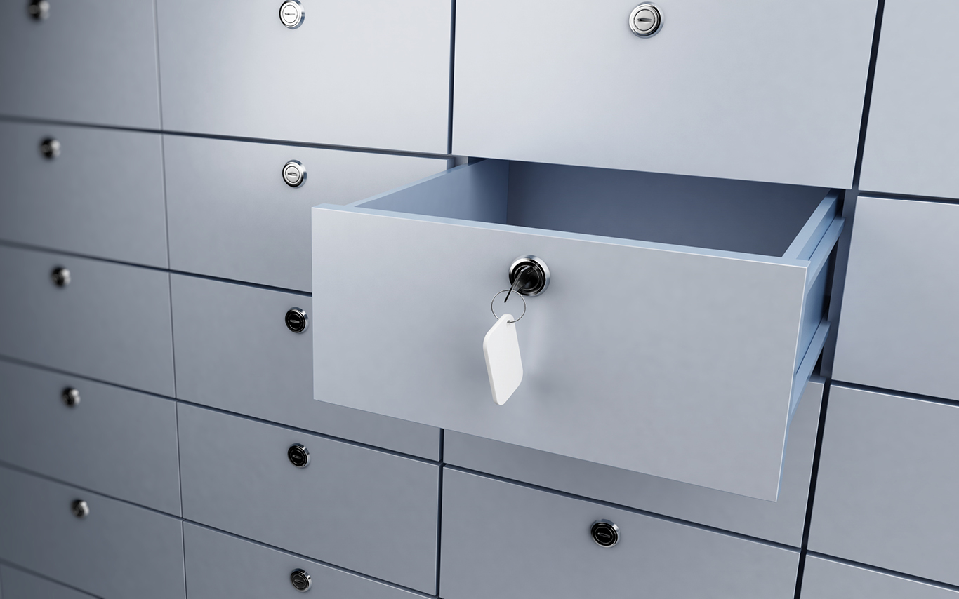 An open drawer in a filing cabinet