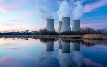 Nuclear power plant after sunset