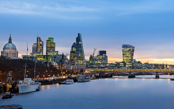 Cityscape image of London in evening