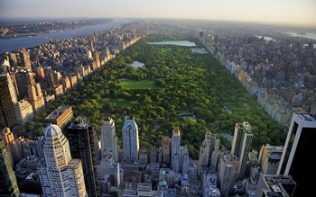 Central Park surrounded by buildings and New York city