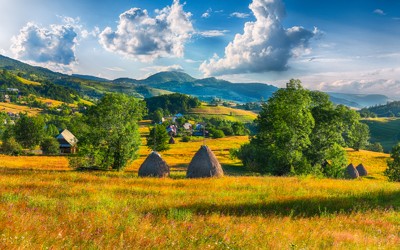 Romania, fields and mountains