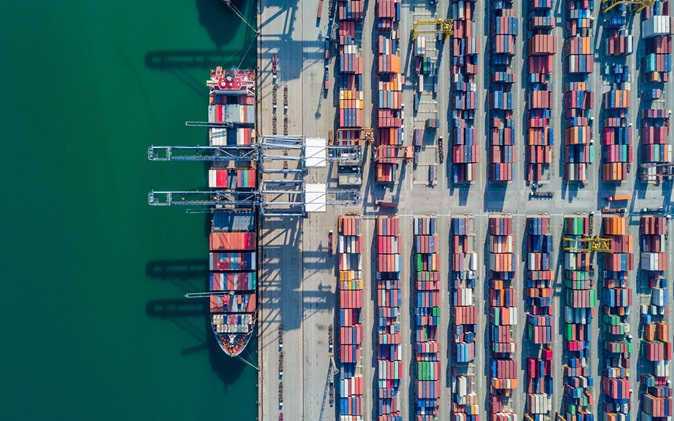 Birds eye view of storage containers at docks