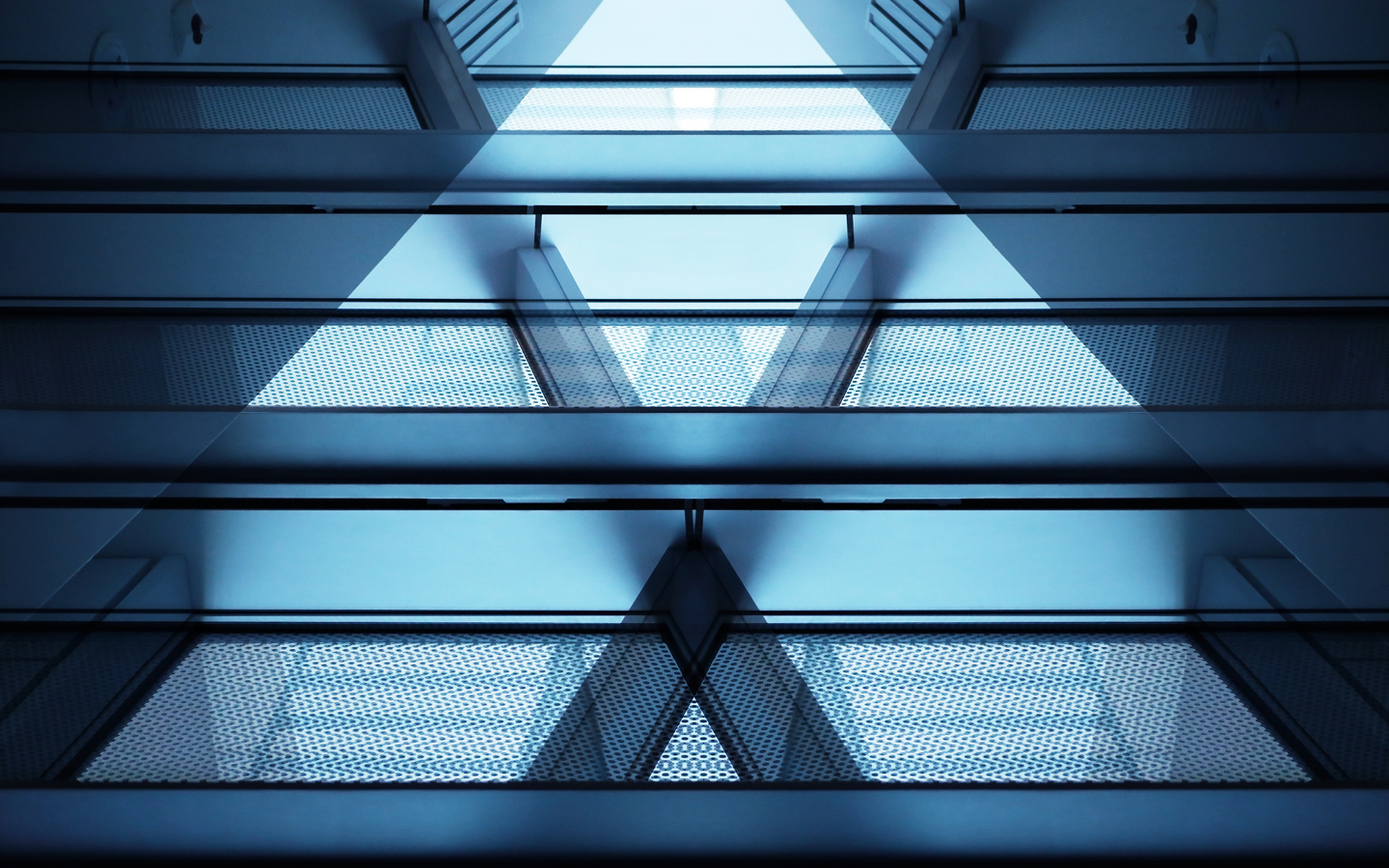 Images of glass panes aligning in a V shape